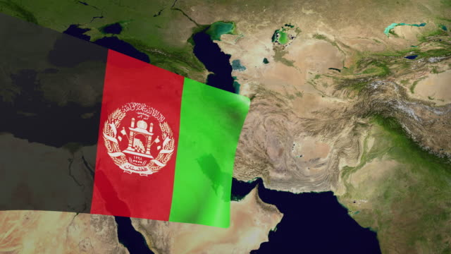 high resolution video of a 3d rendered afghanistan flag, moving above the country's map. - afghanistan stock videos & royalty-free footage
