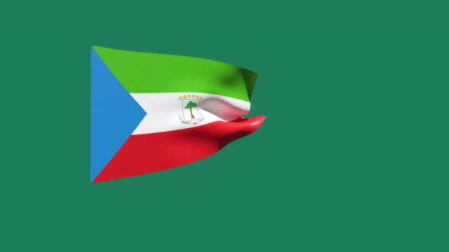 vidéos et rushes de vidéo haute résolution d'un drapeau de la guinée équatoriale en 3d, se déplaçant sur un fond vert. - politique et gouvernement