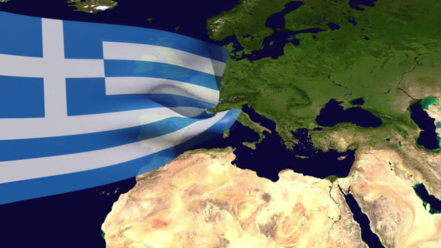 high resolution video of a 3d rendered greece flag, moving over the country's map. - westernisation stock videos & royalty-free footage