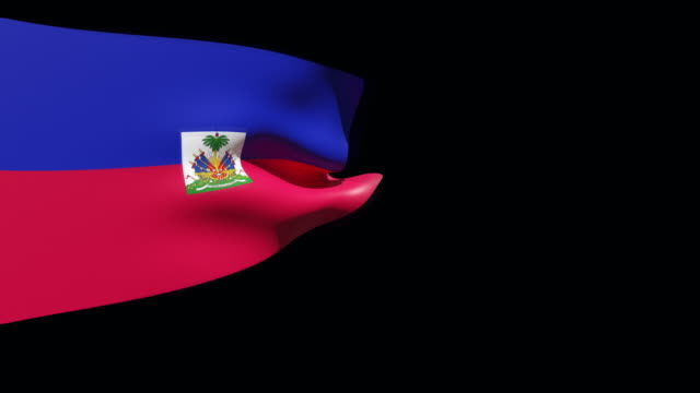 high resolution video of a 3d rendered haiti flag, moving on a black background. - flag haiti stock videos & royalty-free footage