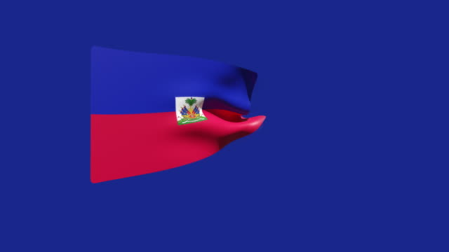 high resolution video of a 3d rendered haiti flag, moving on a blue background. - flag haiti stock videos & royalty-free footage