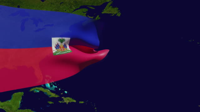 high resolution video of a 3d rendered haiti flag, moving over the country's map. - flag haiti stock videos & royalty-free footage