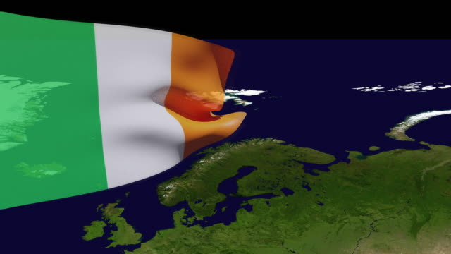 high resolution video of a 3d rendered ireland flag, moving over the country's map. - identity politics stock videos & royalty-free footage