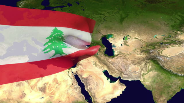 high resolution video of a 3d rendered lebanon flag, moving over the country's map. - lebanon country stock videos & royalty-free footage