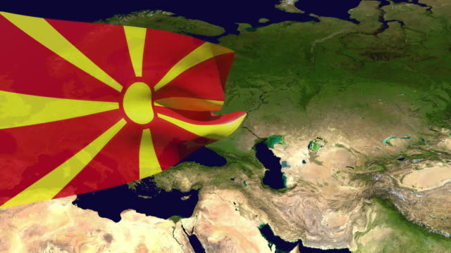 high resolution video of a 3d rendered macedonia flag, moving over the country's map. - westernisation stock videos & royalty-free footage