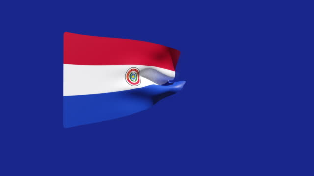 vídeos de stock, filmes e b-roll de vídeo de alta resolução de uma bandeira do paraguai renderizada em 3d, movendo-se em um fundo azul. - ocidentalização