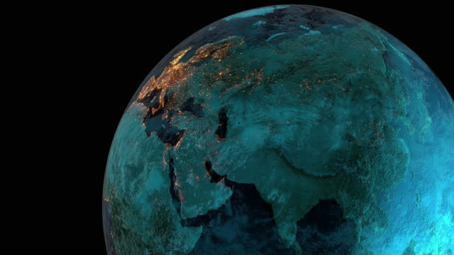 high resolution video with 3d render depicting city lights on diverse continents of planet earth. - zoom in stock videos & royalty-free footage