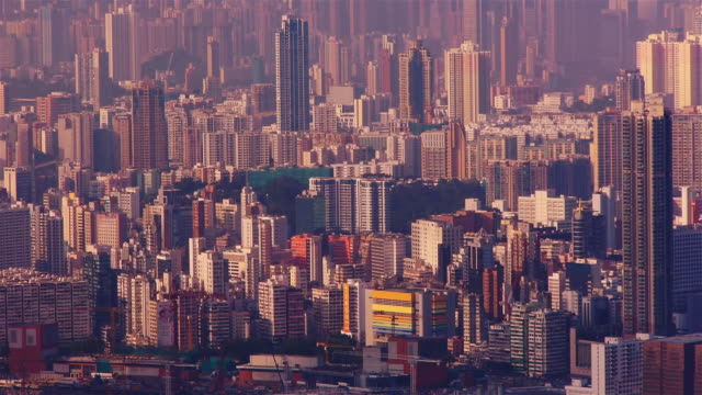 high rise buildings in kowloon, hong kong. view from the peak - spoonfilm stock-videos und b-roll-filmmaterial