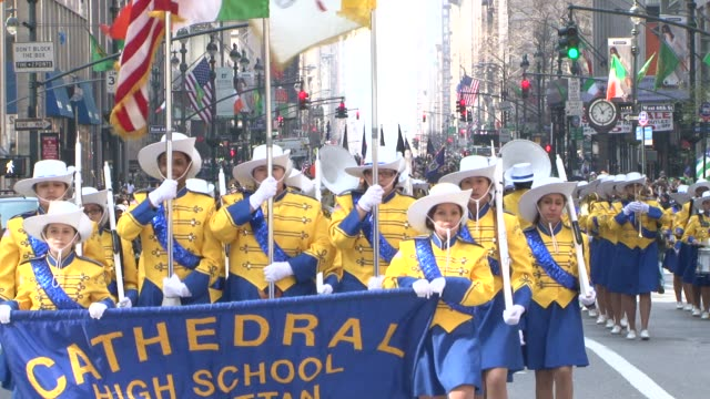 high school bands performing and marching in the nyc 2012 st. patrick's day parade st. patrick's day parade at 5th avenue, nyc on march 18, 2012 in... - st. patrick's day stock videos & royalty-free footage