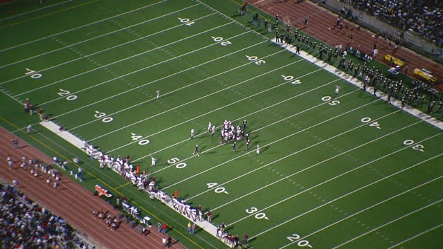 aerial high school football game and stadium / odessa, texas - american football pitch stock videos & royalty-free footage