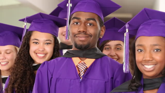 High School Graduates in cap and gown