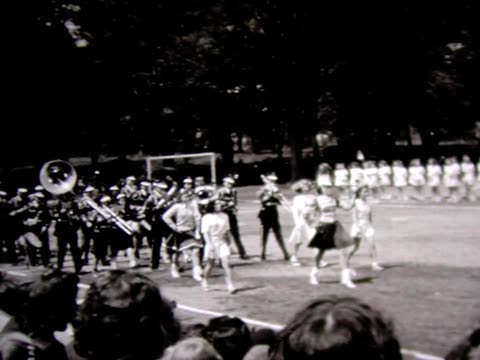 1948 high school marching band with majorettes - school uniform stock videos & royalty-free footage