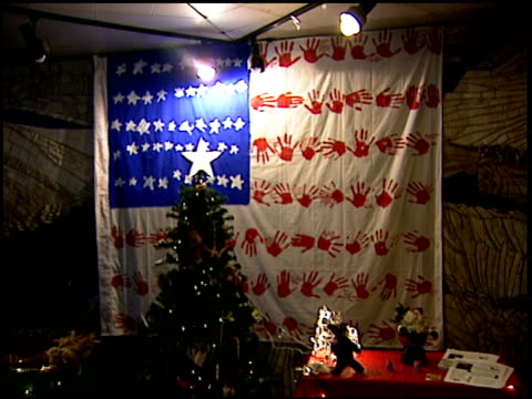 vs int high school near ground zero with banners in halls containing student messages from across the us students walking in halls christmas tree and... - 2001 stock-videos und b-roll-filmmaterial