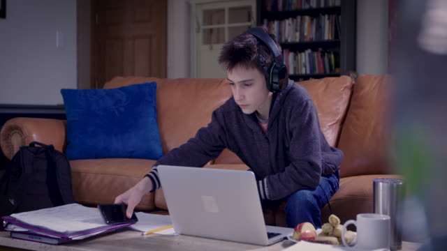 high school student learning at home - only teenage boys stock videos & royalty-free footage