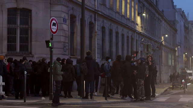 high school students in the street of lycée colbert , blocked by the police to prevent them from blocking the school, in paris, france on january 26,... - secondary school child stock videos & royalty-free footage