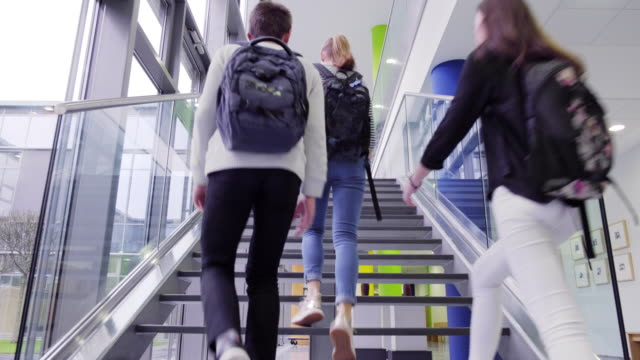 high school students leave school at the end of the day - steps stock videos & royalty-free footage