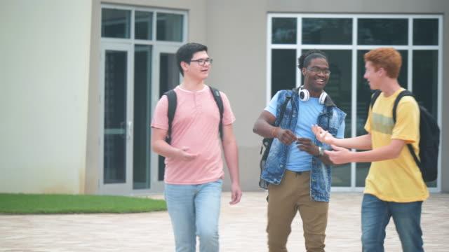vidéos et rushes de des lycéens parlent, accueillis par des amis - jouer à la bagarre