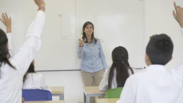 High school teacher teaching a maths lesson to her students