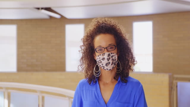 high school teacher wearing protective face mask - back to school stock videos & royalty-free footage