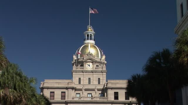 ms, high section of city hall against clear sky, savannah, georgia, usa - facade stock videos & royalty-free footage