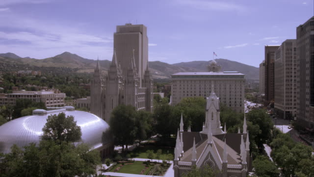 high shot of temple square, salt lake city, utah. - mormon temple stock videos and b-roll footage