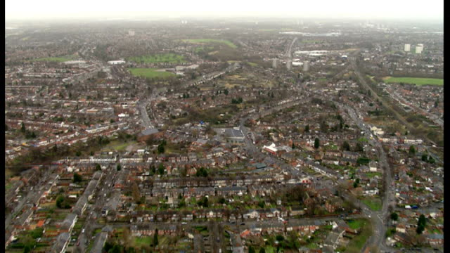 Aerials of Birmingham to Leeds HS2 route ENGLAND West Midlands Birmingham EXT **Helicopter pilot intermittently heard giving details of location...