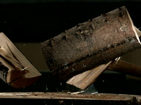 High speed, axe chopping wood