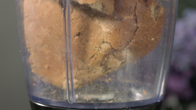 high speed bread in blender - crumb stock videos & royalty-free footage