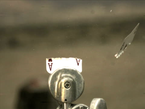 high speed camera - ace of hearts shot in half - bullet stock videos & royalty-free footage