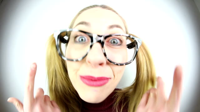 high speed chatty nerd - pigtails stock videos & royalty-free footage