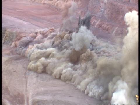 High speed explosion in open cut mine