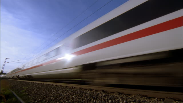 a high speed ice train travels through the germany countryside. - passenger train stock videos & royalty-free footage