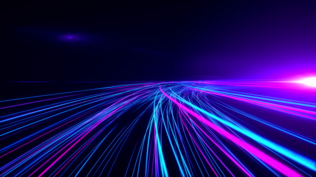 high speed lights tunnel motion trails - computazione quantistica video stock e b–roll