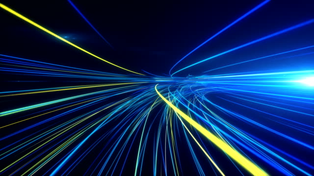 high speed lights tunnel motion trails - velocità video stock e b–roll