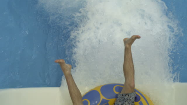 High Speed Man coming down water chute, top view, Spain. (Individual frames may also be used as a still image. Each frame in its raw state is about 6MB or about 12MB as a 16 bit TIFF)