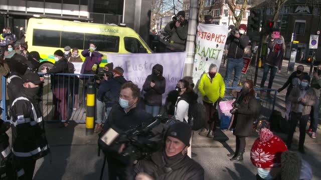 high speed rail line: final protester removed from euston square tunnels; england: london: euston: euston square: ext bailiffs involved in evicting... - news not politics video stock e b–roll