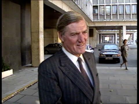 ENGLAND London Dept of Transport Transport Sec Cecil Parkinson MP along EXT Cecil Parkinson MP interview SOT