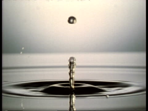 high speed - cu side view water drop falling into silver water - splashing droplet stock videos & royalty-free footage