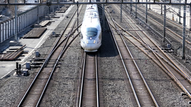 A high speed train on track in Beijing ,China