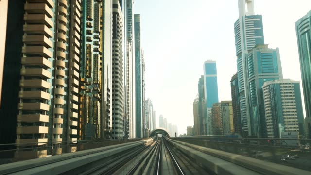 high speed train track to downtown dubai - tramway stock videos & royalty-free footage
