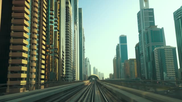 high speed train track to downtown dubai - on the move stock videos & royalty-free footage