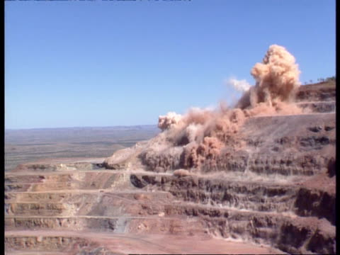 high speed, wa explosion in open cut mine - surface mine stock videos and b-roll footage