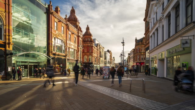 high street in leeds downtown with crowds, west yorkshire, 4k time-lapse - leeds stock videos & royalty-free footage
