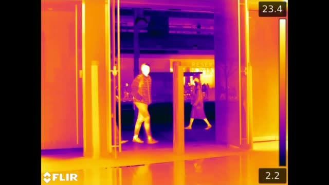 high street shops need to be more environmentally aware; england: london: oxford street: int image from thermal imaging camera showing the heat being... - thermal imaging stock videos & royalty-free footage