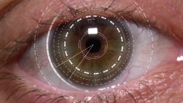 high tech cyber eye - animazione biomedica video stock e b–roll
