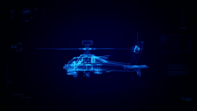 stockvideo's en b-roll-footage met high tech military helicopter background - draadmodel