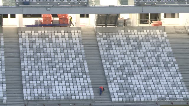 stockvideo's en b-roll-footage met a high tech pitch was sown at the new bordeaux football stadium on friday as construction work nears completion - sportkampioenschap