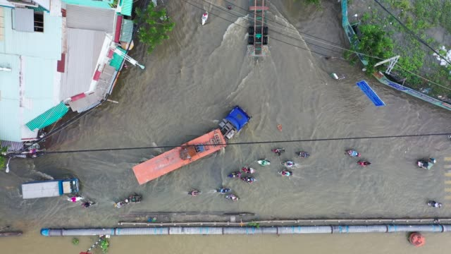 high tide in ho chi minh city - top view - flycam. - flood stock videos & royalty-free footage