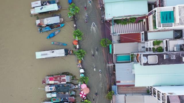 vídeos y material grabado en eventos de stock de high tide in ho chi minh city - top view - flycam. - tropical climate