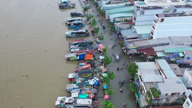 high tide in ho chi minh city - top view - flycam. - embankment stock videos & royalty-free footage